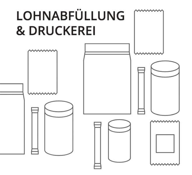 Lohnabfuellung Druckerei Druck Beutel Dosen Doypacks Sticks